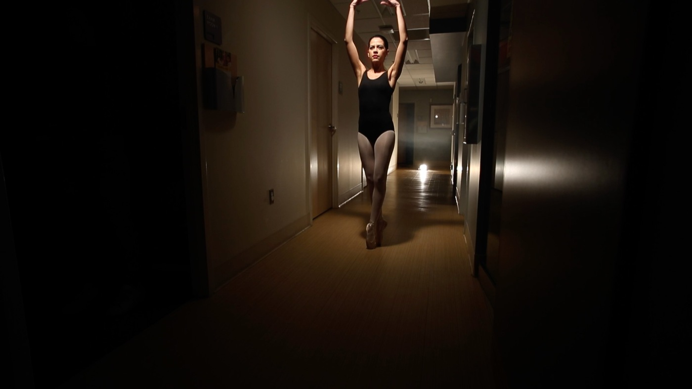 stephanie on pointe with arms above head